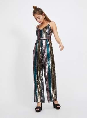 Miss Selfridge Petite pale blue glitter rainbow jumpsuit
