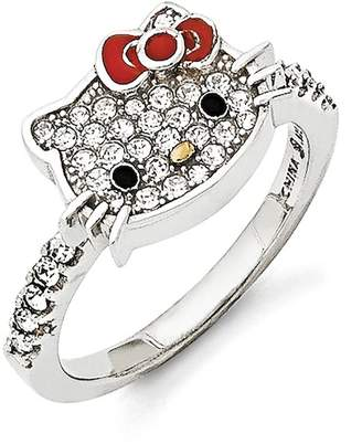 Hello Kitty Czech Crystals Flat Face & Red Girl's Bow Ring