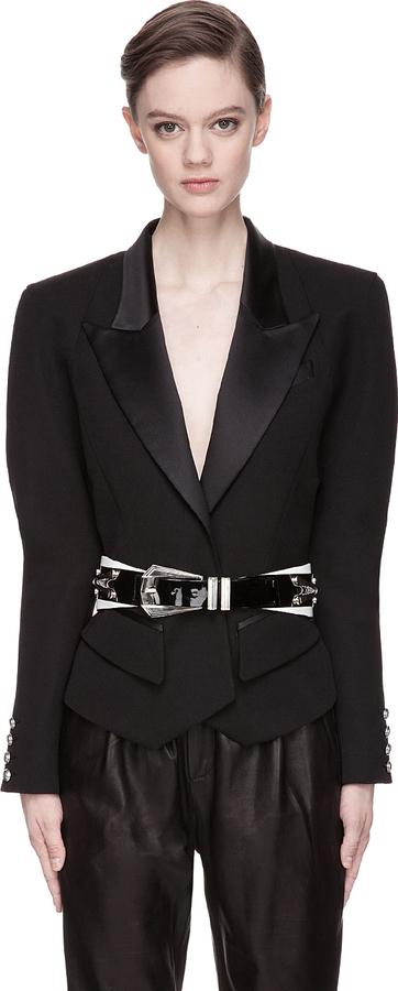 Balmain Black Satin Collar Blazer