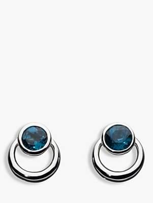 Kit Heath Sterling Silver Simmer Loop Blue Topaz Earrings, Silver