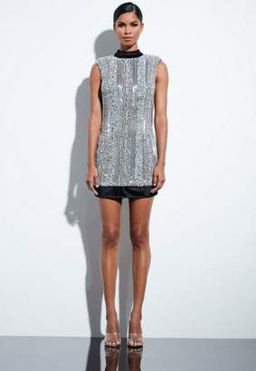 Missguided Silver Embellished Sequin High Neck Dress
