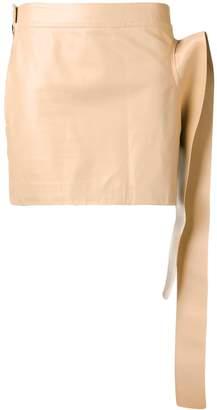 J.W.Anderson Toast Leather Tab Mini Skirt