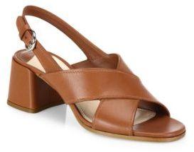 Prada Crisscross Leather Block-Heel Slingbacks