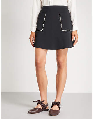 Sandro Embellished knitted mini skirt