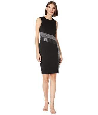 Calvin Klein Tweed Patchwork Sheath Dress