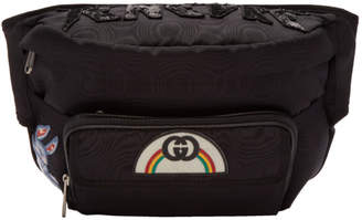 Gucci Black Tenebre Logo Patch Belt Bag