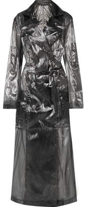 Balmain Double-breasted Metallic Voile Trench Coat - Gray
