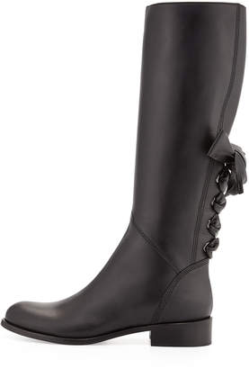 Valentino Ascot Ribbon Lace-Up Riding Boots, Black