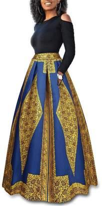 WO-STAR Womens African Print Dashiki Dress Long Maxi A Line Skirt Ball Gown with Pockets M