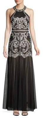 BCBGMAXAZRIA Embroidered Halter Gown