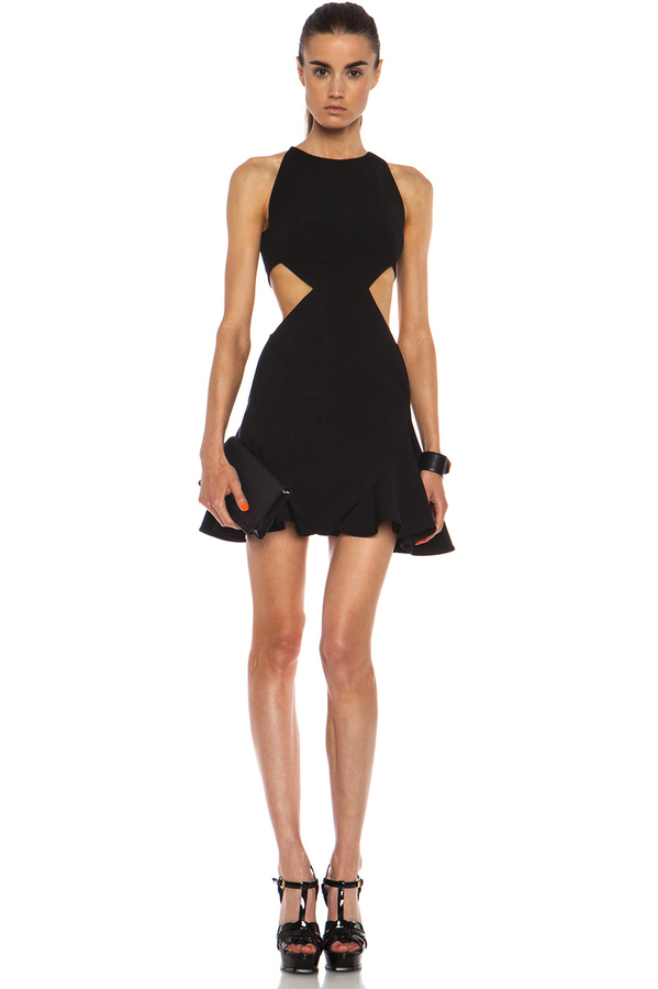 Cushnie et Ochs Flared Viscose-Blend Dress with Side Cutouts