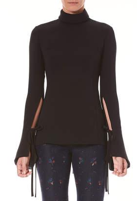Carolina Herrera Long-Sleeve Turtleneck Silk Blouse w/ Tie-Details