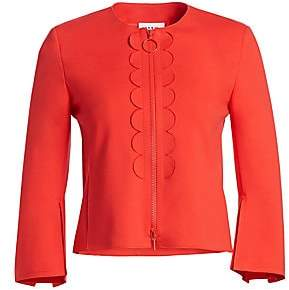 Akris Punto Women's Rosso Scalloped Zip-Front Jacket
