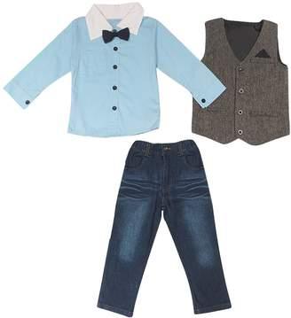 Lestore Little Boys' Formal 3pcs Outfits Long Sleeve Shirt & Vest & Pants