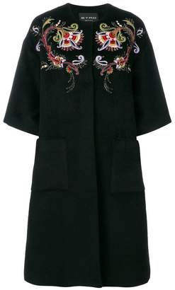 Etro embroidered collarless coat