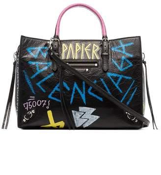 Balenciaga black Paper Graffiti Leather Bag