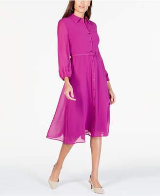 Alfani Belted Curvy-Fit Midi Shirtdress