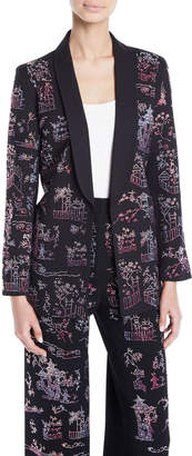 Libertine Chinoiserie-Crystal Tie-Waist Wool Long Blazer
