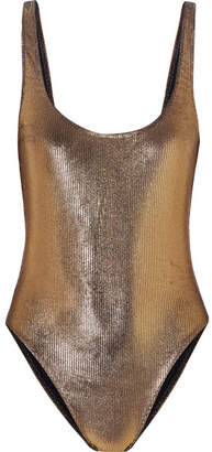 Marie France Van Damme - Metallic Ribbed Swimsuit - Gold