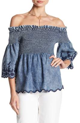 Michael Stars Smocked Off-the-Shoulder Blouse