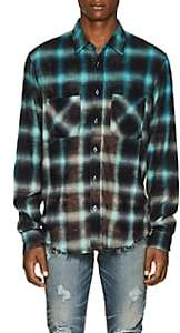 Amiri Men's Tie-Dyed Plaid Cotton Flannel Shirt - Blue