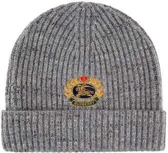 Burberry Crest Embroidered Beanie Hat