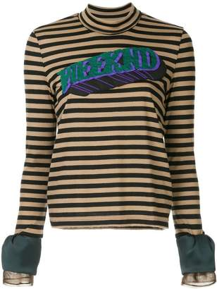 Kolor patch striped high neck top