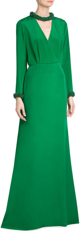 Emilio Pucci Emilio Pucci Floor Length Silk Gown with Embellished Neck and Cuffs