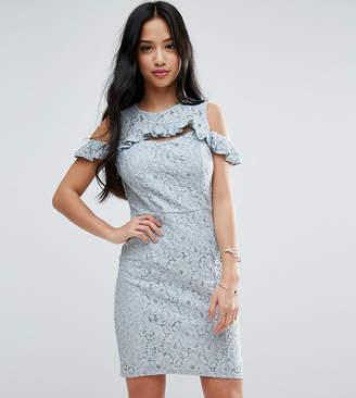 Miss Selfridge Petite Lace Cold Shoulder Mini Dress