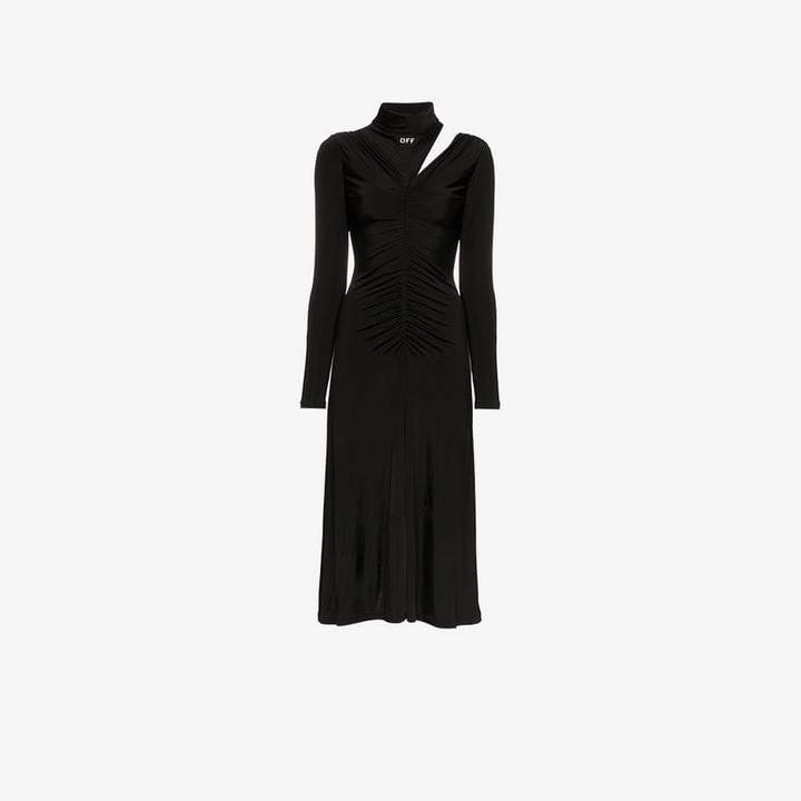 Off White High-necked shoulder cutout dress