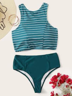 8f8717606f Shein Criss-cross Tie Back Top With High Waist Bikini