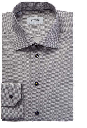 Eton Slim Fit Micro Neat Pattern Dress Shirt