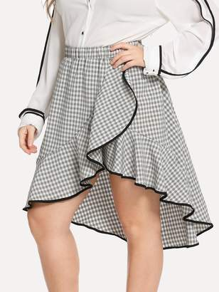 Shein Plus Contrast Binding Flounce Gingham Skirt