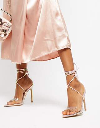 Public Desire Glamour iridescent ankle tie heeled sandals