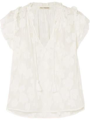 Ulla Johnson Reine Ruffled Silk And Cotton-blend Voile-jacquard Blouse - White