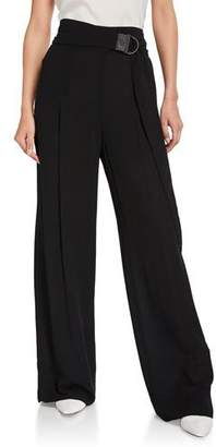 Brunello Cucinelli Monili-Tabbed Wide-Leg Silk Evening Pants