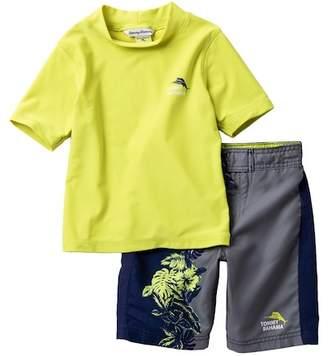 Tommy Bahama Rashguard Top & Hibiscus Board Shorts Set (Little Boys)