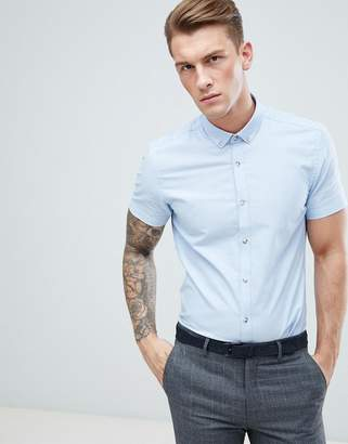 Moss Bros Extra Slim Short Sleeve Oxford Shirt In Blue