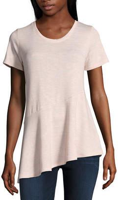A.N.A Short Sleeve Scoop Neck Asymmetrical Hem Top