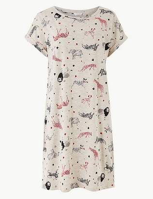 Marks and Spencer Cotton Rich Animal Print Nightdress