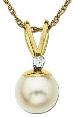 Lord & Taylor Freshwater Pearl Pendant with Diamond Accent in 14 Kt. Yellow Gold 0.05 ct. t.w. 8 mm