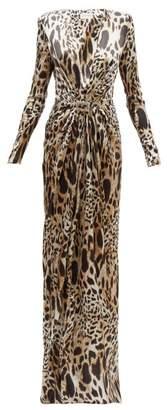 Alexandre Vauthier Crystal Embellished Lynx Print Silk Blend Gown - Womens - Leopard