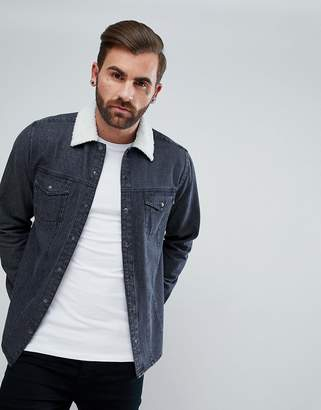 Asos Denim Overshirt With Borg Outershell
