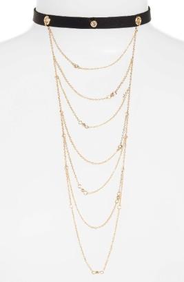 Women's Ettika Layered Chain & Leather Choker $35 thestylecure.com