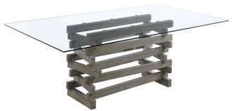 """Emerald Home Jenga Driftwood 84"""" Dining Table with Glass Top And Wood Base"""