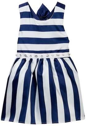Nicole Miller Striped Back Bow Dress (Little Girls)