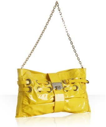 Jimmy Choo yellow patent leather 'Rio' clutch