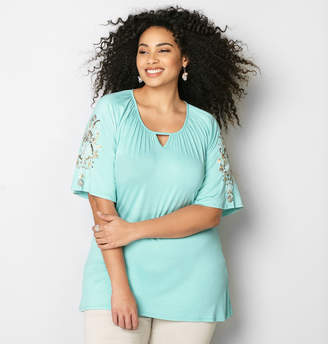 Avenue Embroidered Sleeve Top