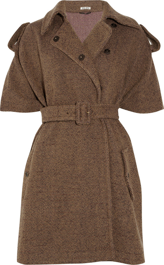 Miu Miu Wool-blend tweed cape