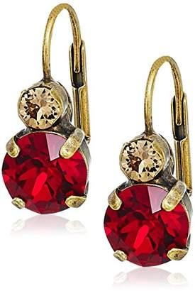 Sorrelli Go Garnet Round Crystal French Wire Drop Earrings